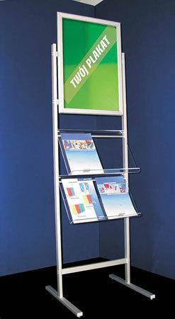 Cudowna Stojak na ulotki reklamowe, foldery A4, składany, podłogowy na XF03