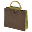 torba z juty z bambusem zielona
